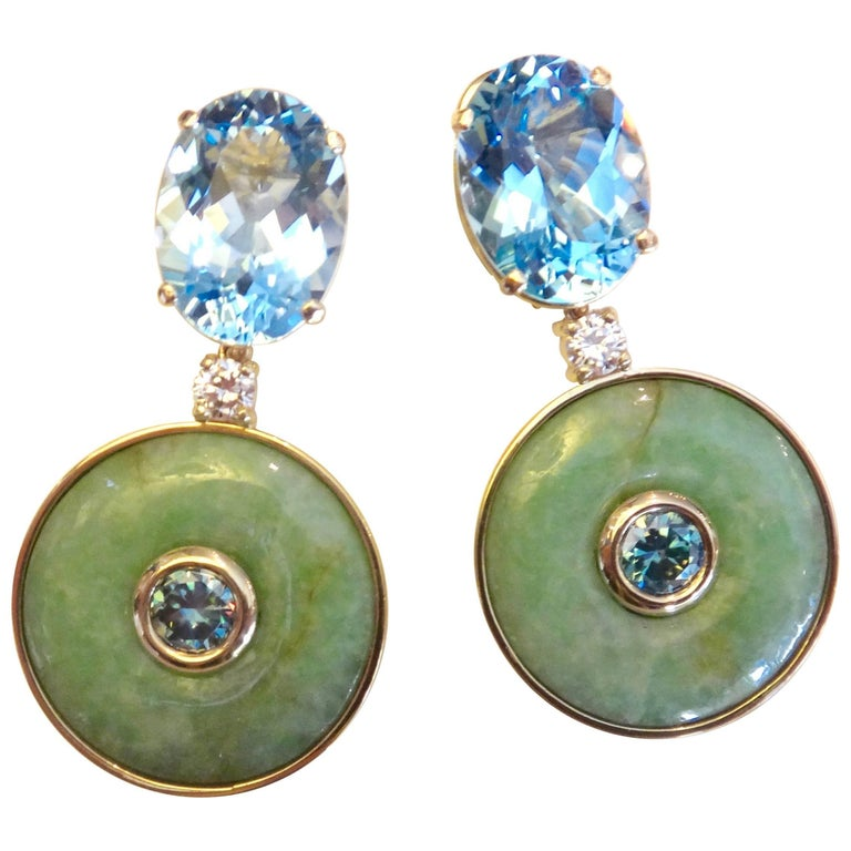 Michael Kneebone Jadeite Blue Topaz Burmese Zircon Diamond Dangle Earrings