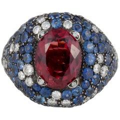 18 Karat Rubelite Sapphire Diamond Ring