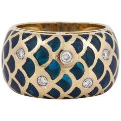 18 Karat Plique-a-Jour Enamel Diamond Ring