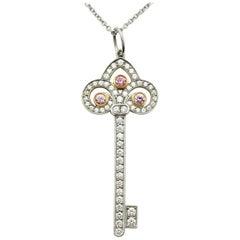 Tiffany & Co Fleur de Lis Pink and White Diamond Platinum Key Pendant Necklace