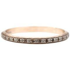 1930s White Rose Design 14 Karat White Gold Band Ring