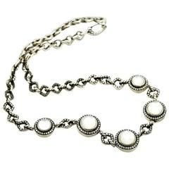 David Yurman Sterling Silver Diamond and Moonstone Necklace