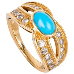 Boucheron Yellow 18 Karat Gold Turquoise Diamond Dress Ring