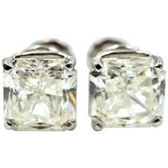 14k White Gold, 6.31cttw Cut-Cornered Square Modified Brilliant Diamond Studs