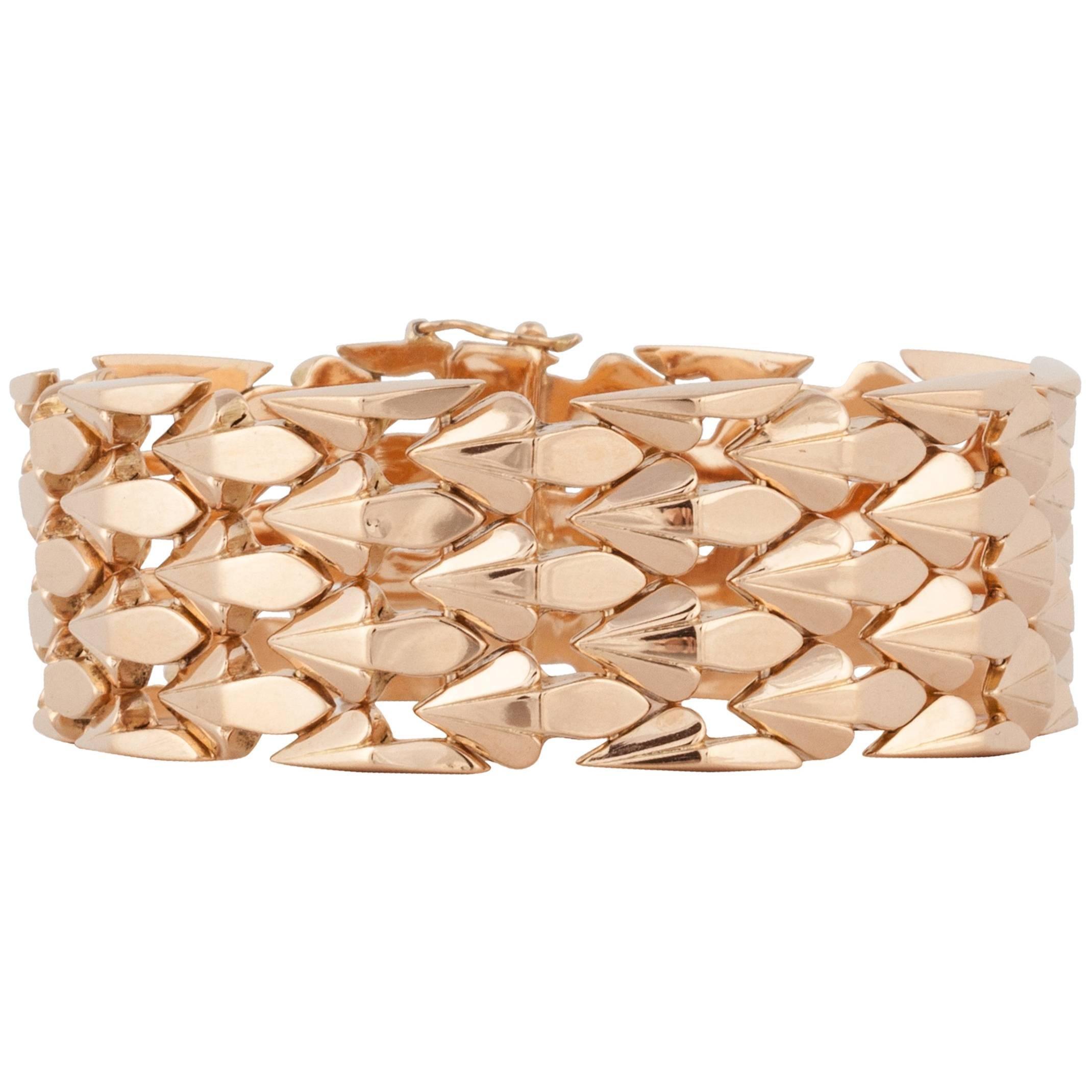 Retro 18K Rose Gold Arrow Link Bracelet