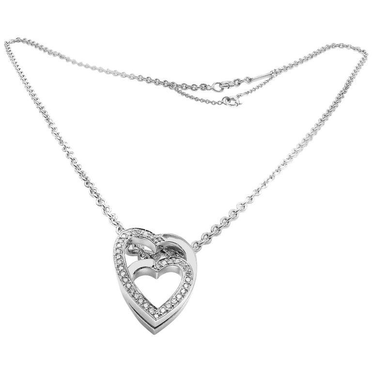 be835da2124 Cartier Diamond Nesting Double Heart White Gold Pendant Necklace For Sale