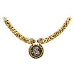 Bulgari Silver Coin Yellow Gold Necklace with Diamond Ruby Bvlgari