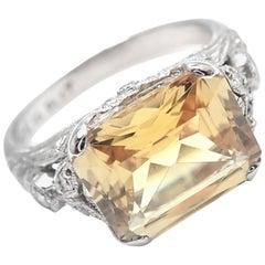 Mimi So Diamond Citrine Platinum Ring