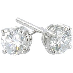 Gübelin GIA Certified 0.89 Carat Round Diamond White Gold Earstuds