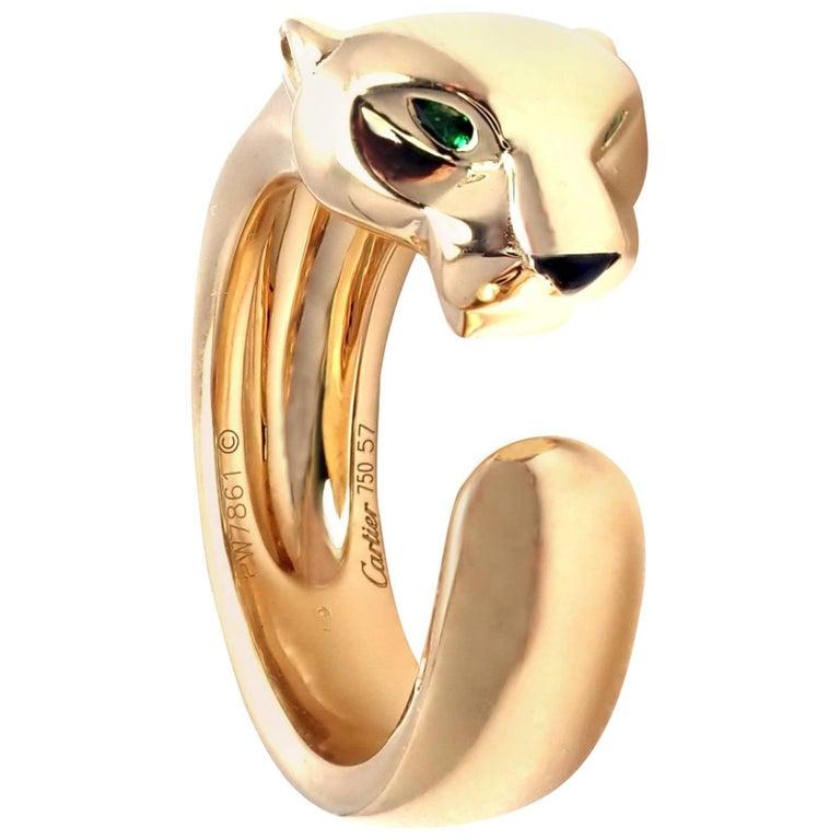 Cartier Panther Panthere Tsavorite Garnet Onyx Yellow Gold Band Ring