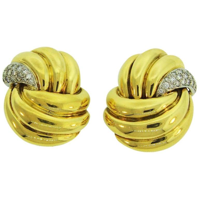 1980s Verdura Diamond Yellow Gold Earrings For Sale