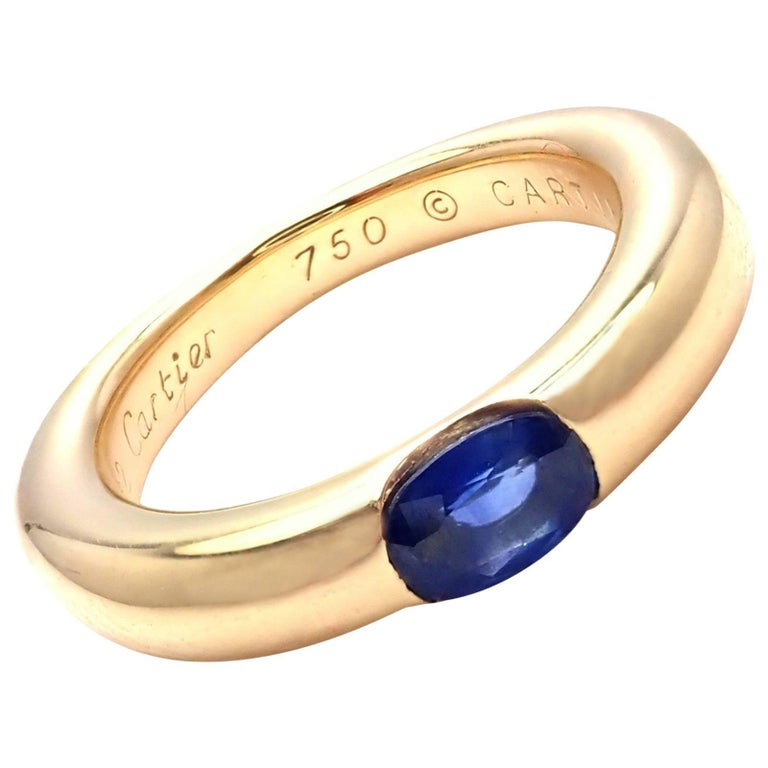 Cartier Sapphire Ellipse Yellow Gold Band Ring