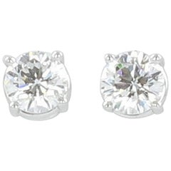 Gübelin GIA Certified 0.81 Carat Round Diamond White Gold Earstuds