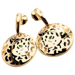 Cartier Panther Panthere Lacquer Tsavorite Garnet Yellow Gold Earrings