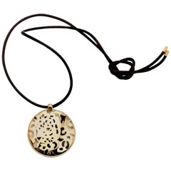 Cartier Panther Panthere Lacquer Tsavorite Garnet Yellow Gold Pendant Necklace