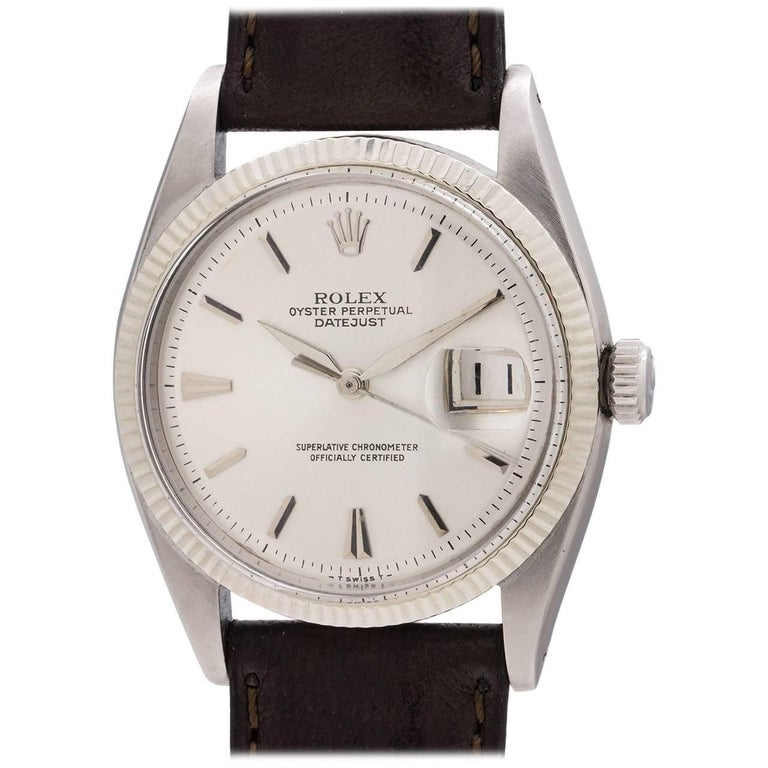 Rolex white gold early Datejust self winding wristwatch Ref 6605, circa 1958