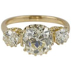 Edwardian 4.22 Carat Old Mine Cushion Diamond K/L VVS1 Trilogy Ring