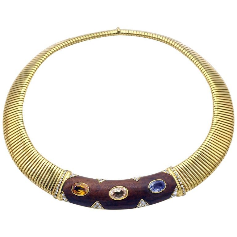 Multicolor Sapphire and Wood Gold Tubogas Choker Necklace