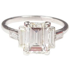 Art Deco Platinum Baguette Diamond Engagement Ring 3.27ct