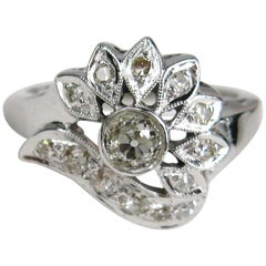Mid Centry 14K White Gold Diamond Cocktail Ring