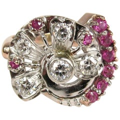 Art Deco 1940s  Diamond Ruby 14K Rose and White Gold Ring