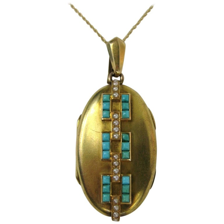 1880's 14K Gold Turquoise and Seed Pearl Antique Locket
