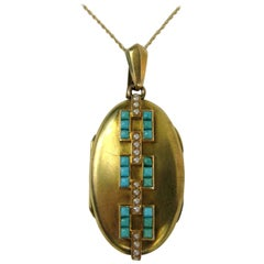14 Karat Gold Turquoise and Seed Pearl Antique Locket, 1880s