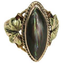 Victorian Tri Colored Gold Abalone Floral Ring