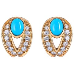 Boucheron Turquoise 18 Karat Yellow Gold Diamond Earrings