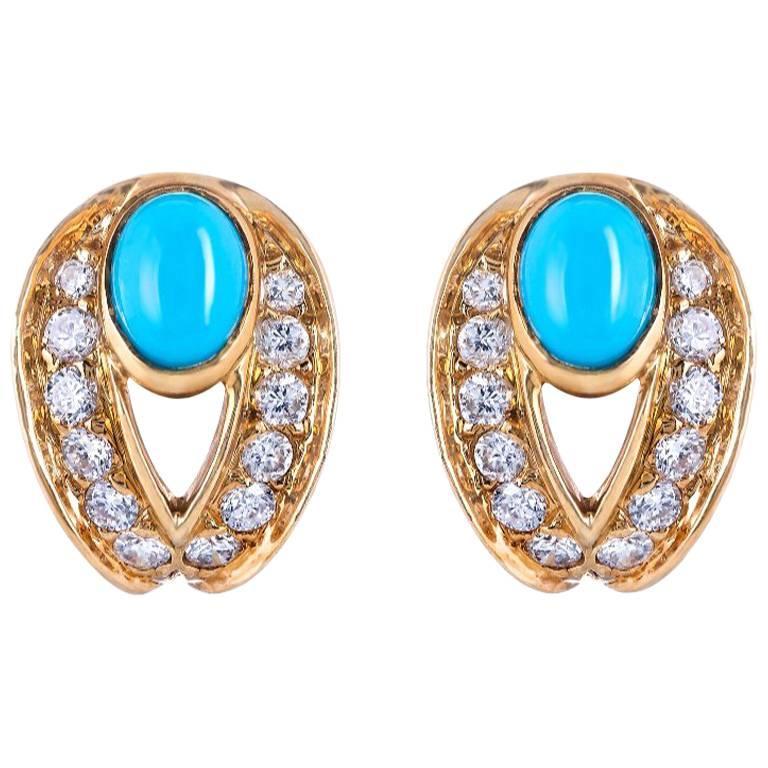 Boucheron Turquoise Diamond Earrings