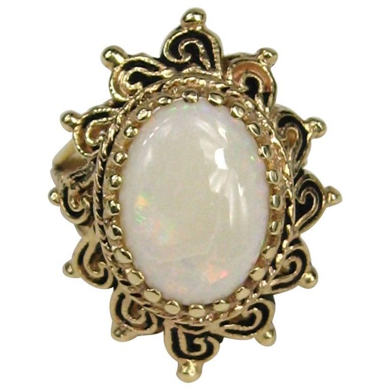 Vintage 14K Gold Opal Cocktail Ring