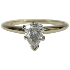 Vintage Diamond Pear Shaped Gold Engagement Ring