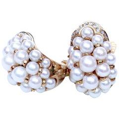 Cartier Pearl Diamond Gold Earrings