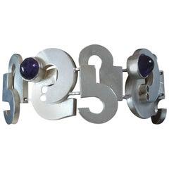 1970s Gunthner Modernist Space Age Amethyst Silver Bracelet