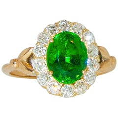 Fine Tsavorite and diamond Antique Ring