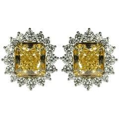 GIA 8.16 Carat Total Weight Fancy Yellow Diamond Earrings