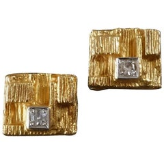 Bjorn Weckstrom for Lapponia Scandinavian Modernist Diamond Gold Earstuds