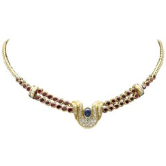 Sapphire Ruby and Diamond Gold necklace