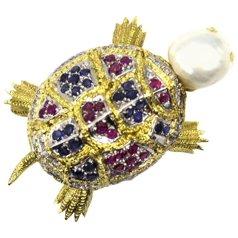 Diamond Sapphire Ruby Pearl Turtle Brooch Pin For Sale