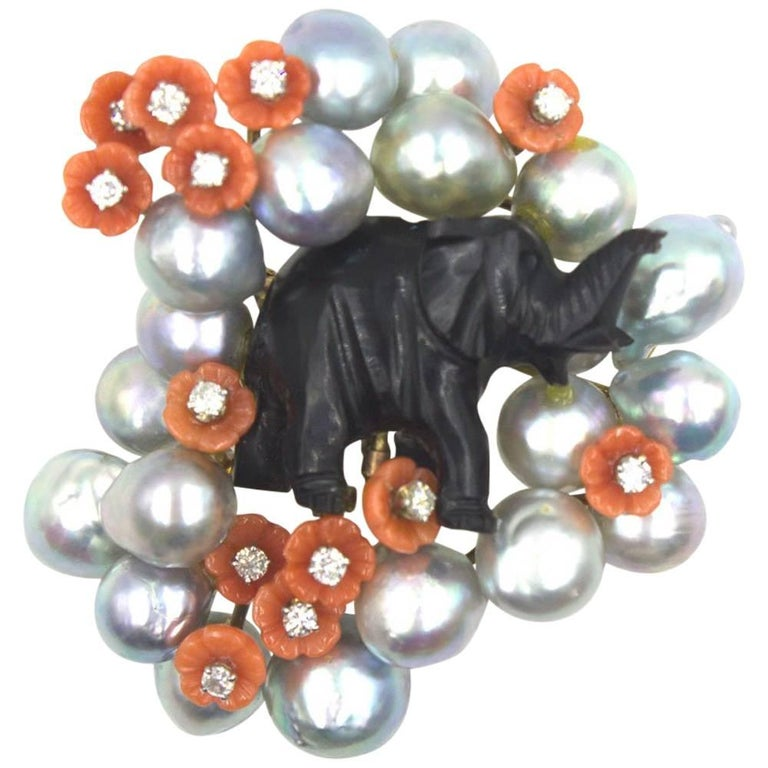 1960's Diamond Coral Pearl Carved Obsidian Elephant Pin Brooch