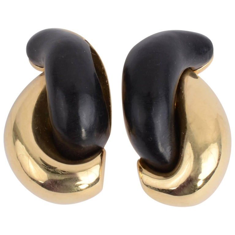 Seaman Schepps Half Link Gold and Wood Earrings
