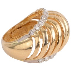 Lalaounis Domed Gold Ring with Diamonds