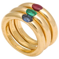 Cartier Paris Ruby Sapphire Emerald Gold Ellipse Rings