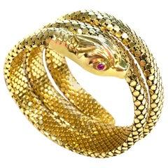 Vintage Gold Flexible Wrap-Around Coiled Snake Bracelet