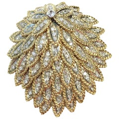 Vintage 4 Carats of Diamonds Gold Feather Brooch Pin