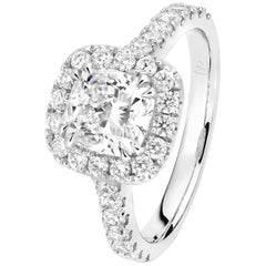 Matthew Ely Cushion Cut Diamond 1.54 Carat GIA Engagement Ring in Halo Style