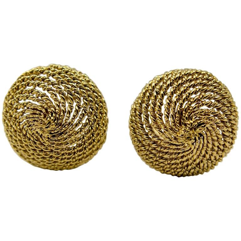 Tiffany & Co Gold Diamond Beehive Earclips