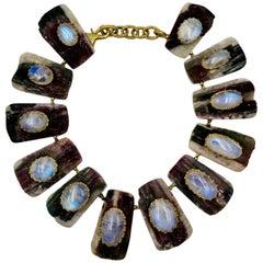 Tony Duquette Gold Moonstone Bicolor Tourmaline Necklace