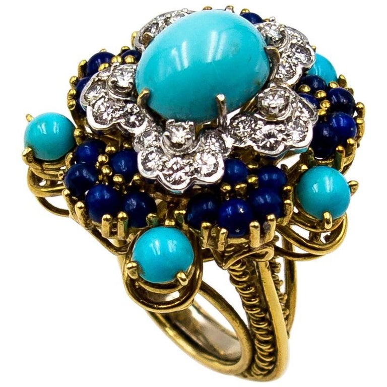 Diamond Lapis Lazuli Turquoise Gold Cocktail Ring