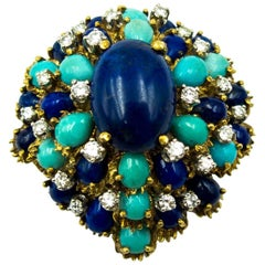 Turquoise Lapis Diamond Gold Cocktail Brooch
